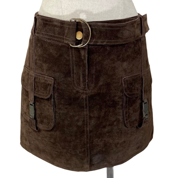 John Carlisle soft brown suede leather mini skirt